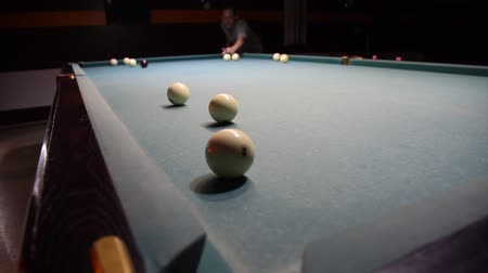 eight : Billiards, billiard table. Balls on the billiard table
