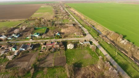kuban : Top view of the village. One can see the roofs of the houses and gardens. Road the village. Village birds-eye view.