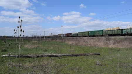 emtia : Freight train going by rail. Glade in front of the railway