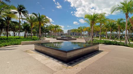 Super high definition video of the beautiful South Pointe Park in popular Miami Beach.