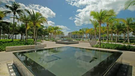 Super high definition video of the beautiful South Pointe Park in popular South Beach. Stock mozgókép