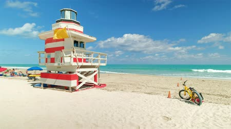 Miami Beach, Florida - March 6, 2018: Super high definition video of the beautiful and popular South Beach along South Pointe Park.