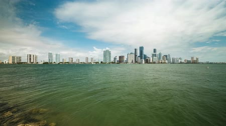 High definition time lapse video of the beautiful Miami skyline along Brickell Avenue and Biscayne Bay.