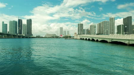 High definition video of the downtown Miami skyline viewed from Biscayne Bay along the Venetian Causeway.