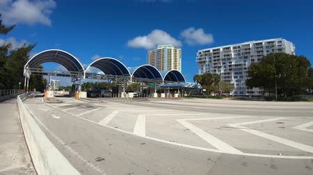 Miami, Florida USA - February 20, 2019: Time lapse video of the traffic flow across the toll booths on the Rickenbacker Causeway that connects to Key Biscayne.