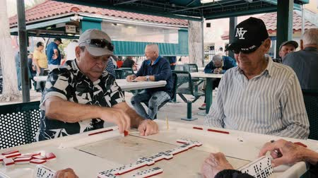 cidadão idoso : Miami, Florida USA - January 19, 2019: High definition video of elderly individuals playing the popular domino game at the historic Domino Park in Little Havana.