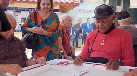 Miami, Florida USA - January 19, 2019: High definition video of elderly individuals playing the popular domino game at the historic Domino Park in Little Havana.