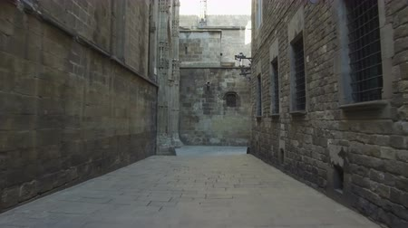 grating : Ancient Barcelona, ??Gothic Quarter. Walking through a medieval street. Smooth camera movement: point of view. Stock Footage