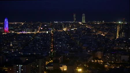 architecture and urbanism : Wide night view of Barcelona, ??with traffic movement. Time Lapse