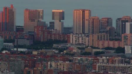 architecture and urbanism : Sunset view district 22 @ in Barcelona with sunlight movement on the facade of the buildings.Time Lapse