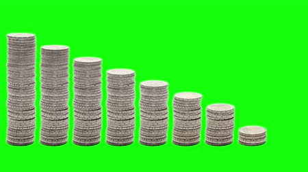 spadek : Nine stacks of coins decreasing. Stop Motion. Chroma Key. Concept of poverty, ruin, failure.