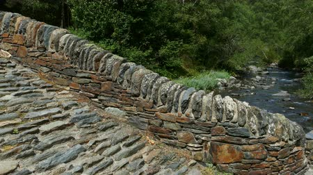 abundante : Close-up of a small stone bridge of Romanic style, in a mountain river on the Pyrenees of Andorra. Vídeos