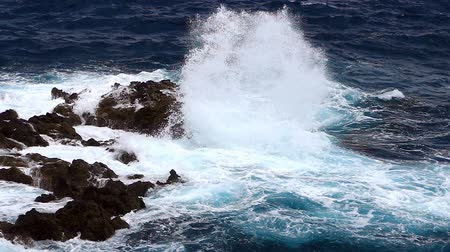 comes : Detail of rocks and waves.Slow motion. Dangerous rocks and waves on the coastline with strong wind.