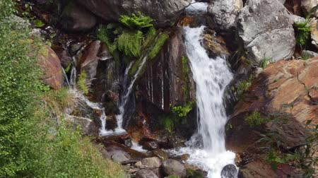kapradina : Detail waterfall on a mountain river with lush vegetation in the Pyrenees of Catalonia.Time Lapse