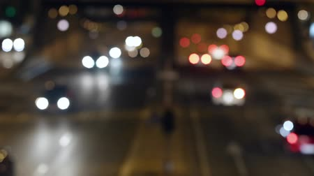 夜 : Urban scene blurred night traffic in Barcelona: Urban tunnel.Time Lapse.