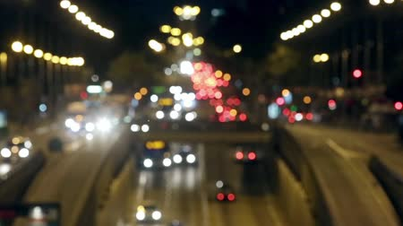 desfocado : Urban scene blurred night traffic in Barcelona: great avenue of entry and exit to the city