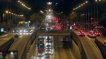 telephoto lens : Urban night traffic in Barcelona: great avenue of entry and exit to the city.Time Lapse. Stock Footage