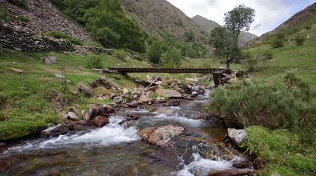 gangway : Mountain river with old wooden footbridge in the Pyrenees of Catalonia (Spain) .Time Lapse