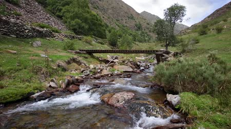 Mountain river with old wooden footbridge in the Pyrenees of Catalonia (Spain).