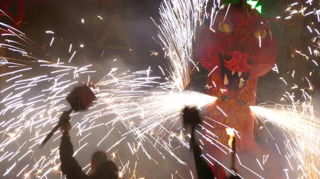 firecracker : Fire Run (Correfoc) traditional celebration of Catalonia, devils dancing among people with fireworks in the hands to the beat of drums.