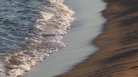 white sand : Detail of the seashore where the waves break, with the evening light, creating sense of peace. Stock Footage