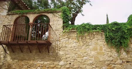 klimop : Balcony in a medieval stone wall with lush vegetation that overflows.Tracking shot left.