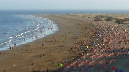 Aerial view of the English Beach, Canary Islands.Time lapse, Tilt-shift effect. Panoramic with many people walking and the movement of waves at sunset, in the zone of Maspalomas, island of Gran Canaria, Spain.