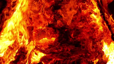 Close-up of the movement of the flames of a bonfire.Slow Motion.
