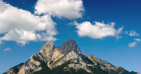 hegytömb : Panoramic view of Pedraforca Massif with fast movement of clouds. Hyperlapse Peculiarly shaped mountain landscape, in the province of Barcelona, in Cad?-Moixer? Natural Park, Pre-Pyrenees, Catalonia, Spain.Smooth camera movement: Panning Right