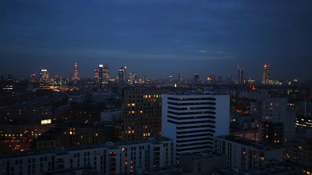 warszawa : View of the city center at night