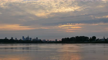 wisla : Sunset over the center of Warsaw timelapse Stock Footage