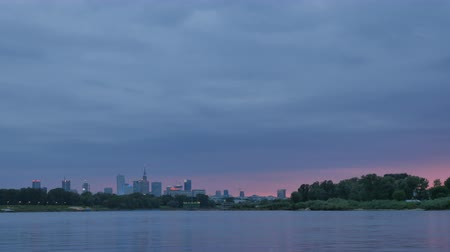 wisla : Twilight over Warsaw timelapse Stock Footage