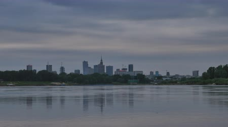wisla : View of the center of Warsaw at dusk