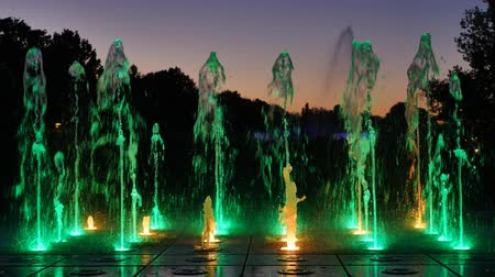 warszawa : The illuminated fountain at night Wideo