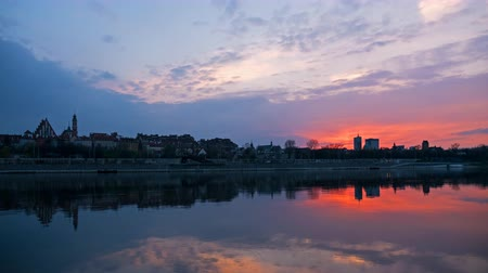wisla : Sunset over the Old Town in Warsaw - timelapse