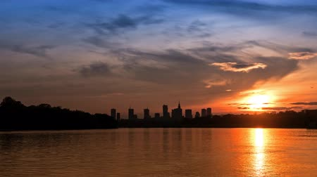 wisla : Sunset over the center of Warsaw - timelapse
