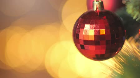 Bright festive background, Christmas-tree decorations, close-up