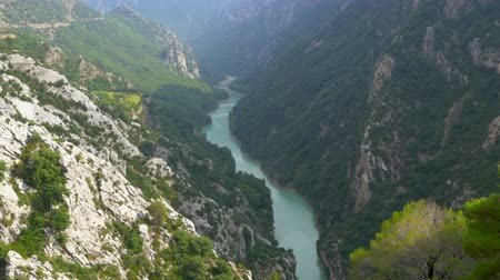 alpes : 4k, panorama of the majestic Verdon gorge, Provence. France Stock Footage