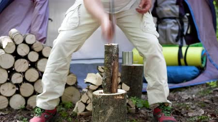 огрызок : Chop wood with an ax in nature to remove split firewood. Стоковые видеозаписи