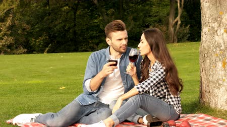 Happy couple is enjoying on the green lawn. The guy and the girl are drinking wine at a picnic. Dostupné videozáznamy