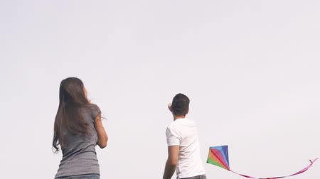 Happy couple flying a kite on a green lawn in the park. Slow motion.