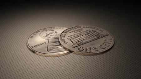 united states : One-cent United States coin, green screen Stock Footage