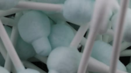 biodegradable : Cotton buds sticks Stock Footage