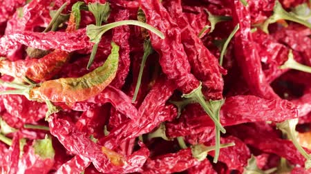 Dried chili peppers Stock Footage