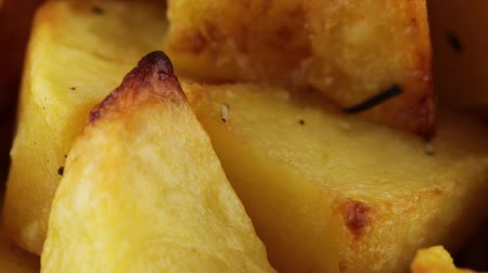 bread stick : potatoes cooked in the oven Stock Footage