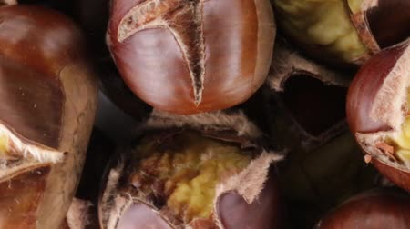 nogueira : peeled chestnuts Stock Footage