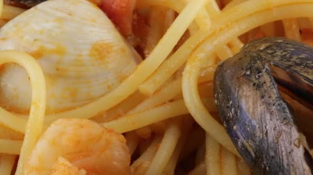 seafood dishes : Spaghetti with fish Stock Footage
