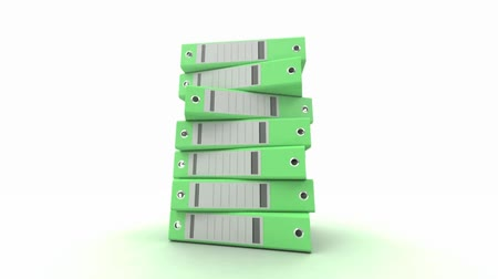 dosyalama : 3D animation of a pile of green ring binders turning around