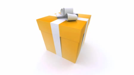 пакет : Big orange gift box with a white ribbon turning around
