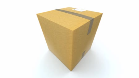 kurier : A Cardboard box turning around on a white background